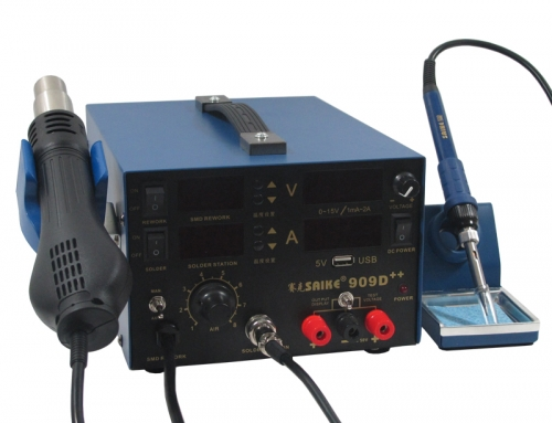 SAIKE 909D++ Hot air soldering station with USB 5V and DC Power Supply 15V 2A