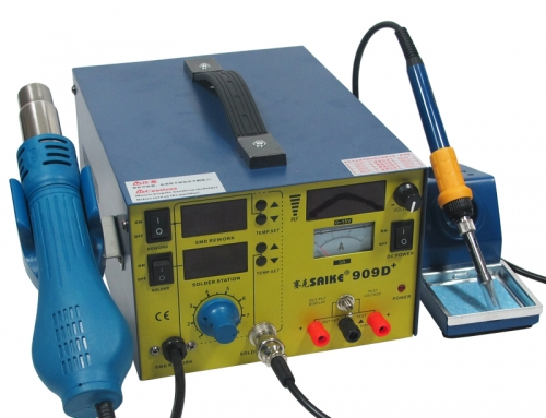 SAIKE 909D+ Hot air soldering station with DC Power Supply 15V 3A