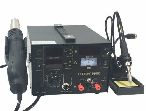 SAIKE 909D Hot air soldering station with DC Power Supply 15V 2A