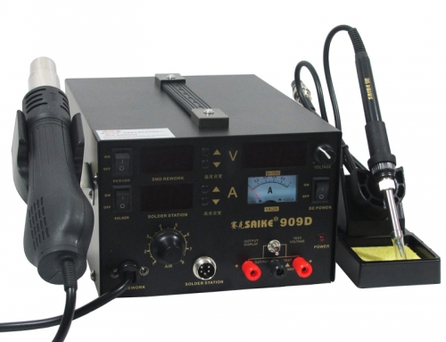 SAIKE 909D Hot air soldering station with DC Power Supply 15V 1A